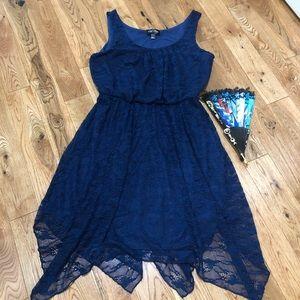 Love reign navy lace asymmetrical dress size L